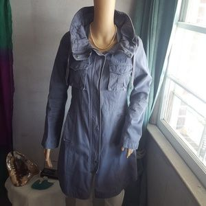 H&M Slate Blue Cotton Canvas Coat Fits like Small